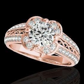 2.05 CTW G-Si Certified Diamond Bridal Solitaire Halo