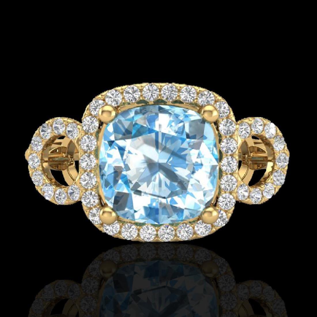 3.75 CTW Topaz & Micro VS/SI Diamond Certified Ring 18K