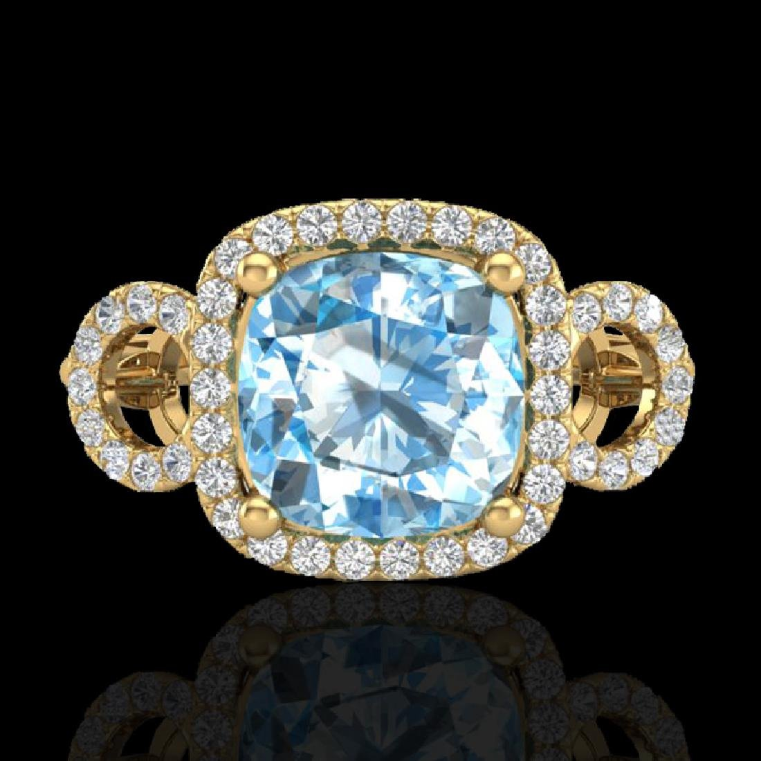 3.75 CTW Topaz & Micro VS/SI Diamond Certified Ring 18K