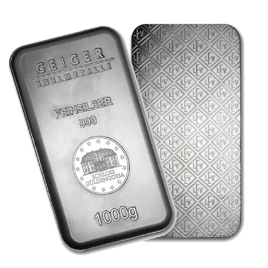 One piece 1 kilo 0.999 Fine Silver Bar Geiger Security