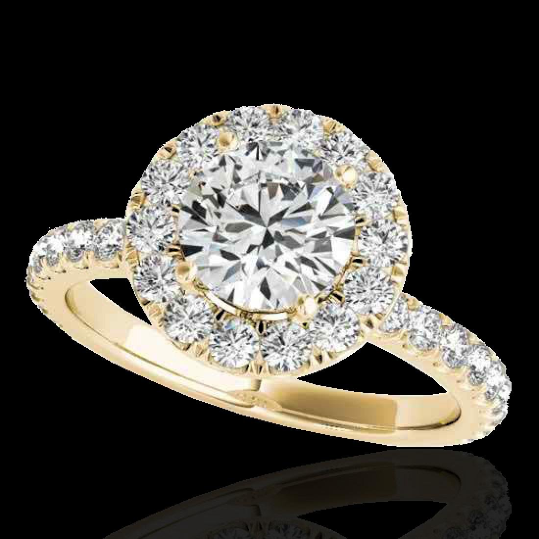 1.75 CTW G-Si Certified Diamond Bridal Solitaire Halo