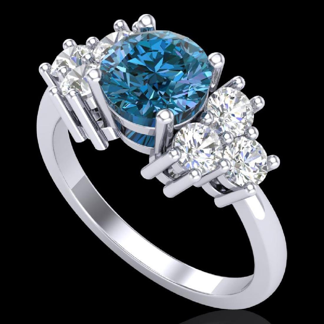 2.1 CTW Intense Blue Diamond Solitaire Engagment