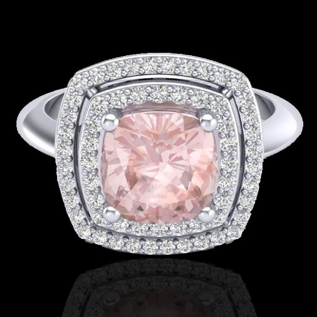1.92 CTW Morganite & Micro VS/SI Diamond Certified Pave