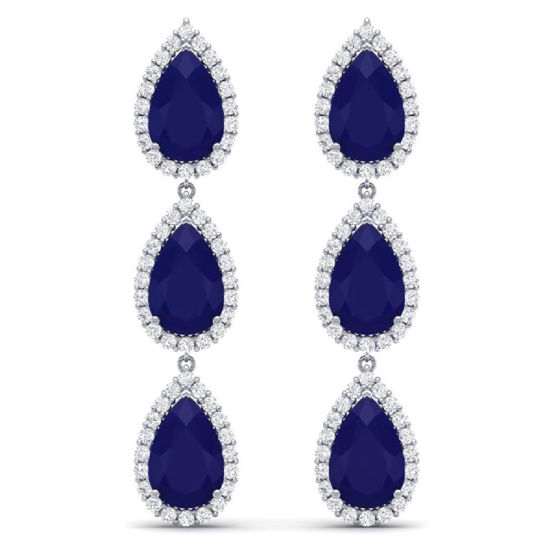 27.06 CTW Royalty Sapphire & VS Diamond Earring 18K