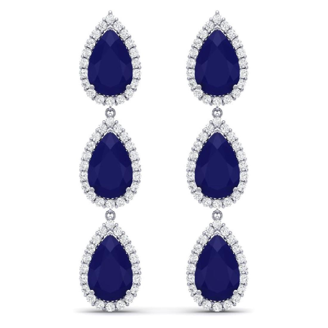27.06 CTW Royalty Sapphire & VS Diamond Earring 18K