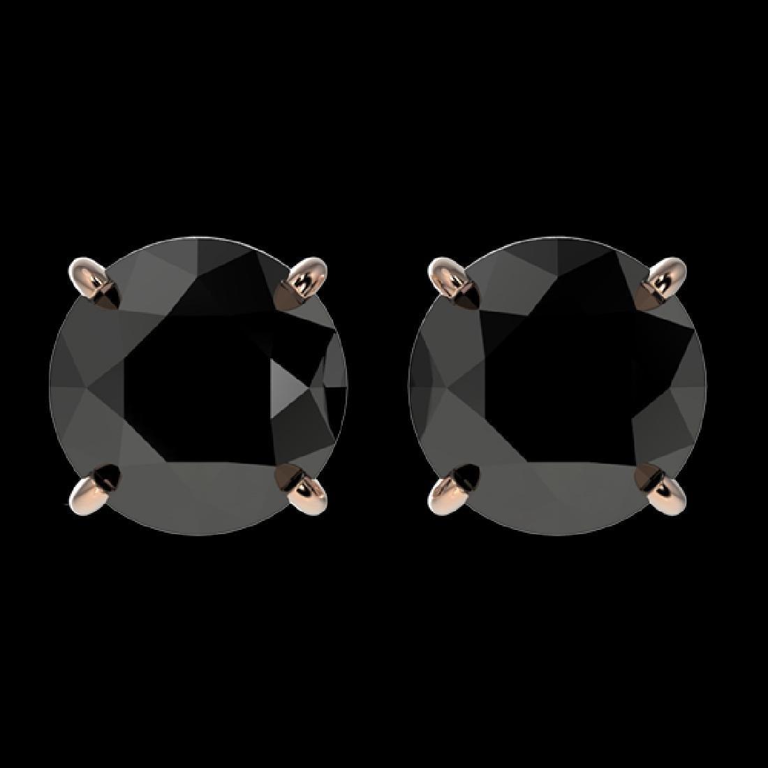 2 CTW Fancy Black VS Diamond Solitaire Stud Earring