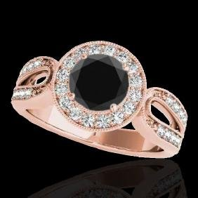 1.40 CTW Certified VS Black Diamond Solitaire Halo Ring