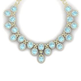 83 CTW Royalty Sky Topaz & VS Diamond Necklace 18K Gold