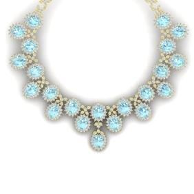 83 CTW Royalty Sky Topaz & VS Diamond Necklace 18K Gold