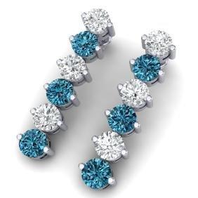 6 CTW Certified Si/I Fancy Blue & White Diamond Earring