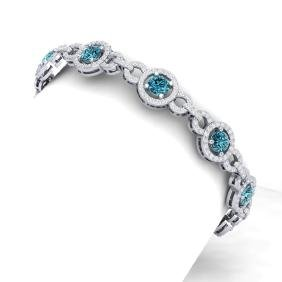 10 CTW Si/I Fancy Blue And White Diamond Bracelet 18K