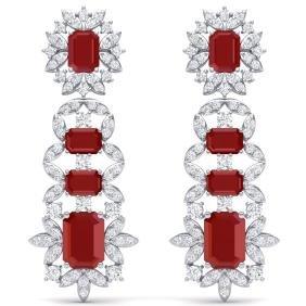 30.25 CTW Royalty Designer Ruby & VS Diamond Earring