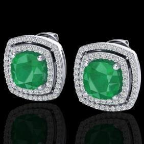 4.95 CTW Emeral & Micro Pave VS/SI Diamond Certified