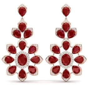51.8 CTW Royalty Designer Ruby & VS Diamond Earring 18K