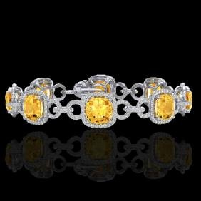 30 CTW Citrine & Micro VS/SI Diamond Certified Bracelet