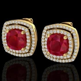 4.95 CTW Ruby & Micro Pave VS/SI Diamond Certified Halo