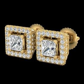 2.25 CTW Princess VS/SI Diamond Micro Pave Stud Earring