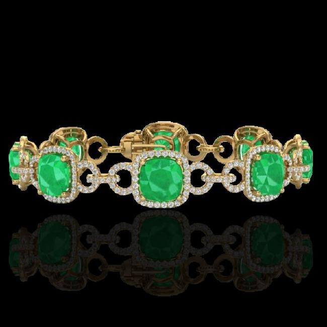 25 CTW Emerald & Micro VS/SI Diamond Certified Bracelet