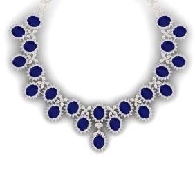 81 CTW Royalty Sapphire & VS Diamond Necklace 18K Gold