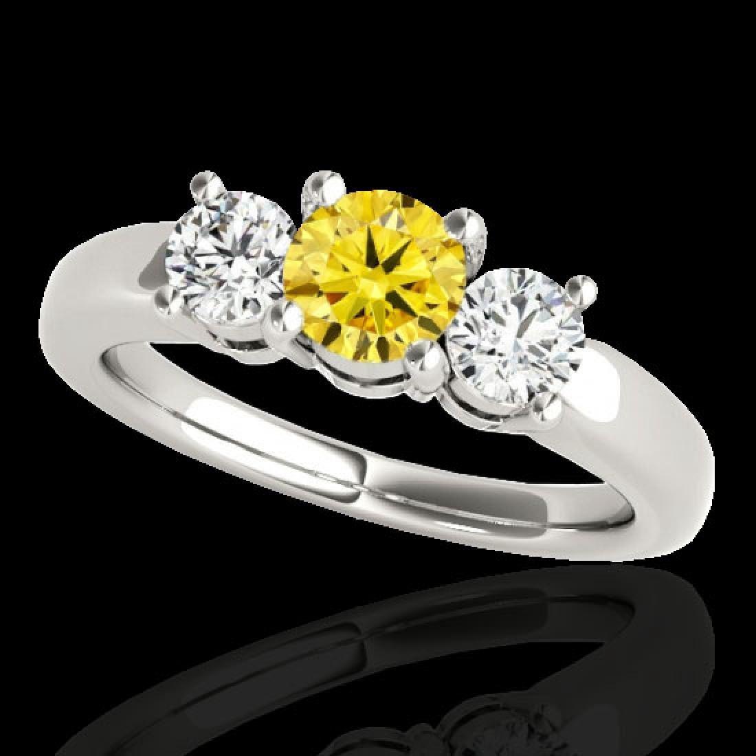 2 CTW Certified Si Fancy Intense Yellow Diamond 3 Stone