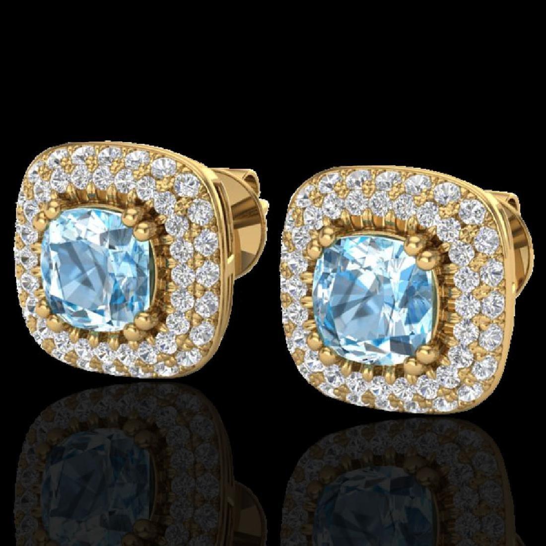 2.16 CTW Sky Blue Topaz & Micro VS/SI Diamond Earring
