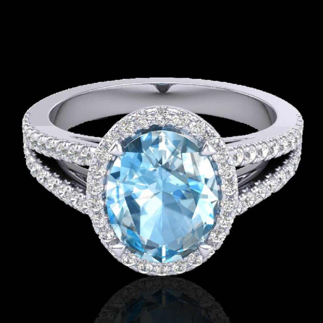 3 Sky Blue Topaz & Micro VS/SI Diamond Halo Solitaire