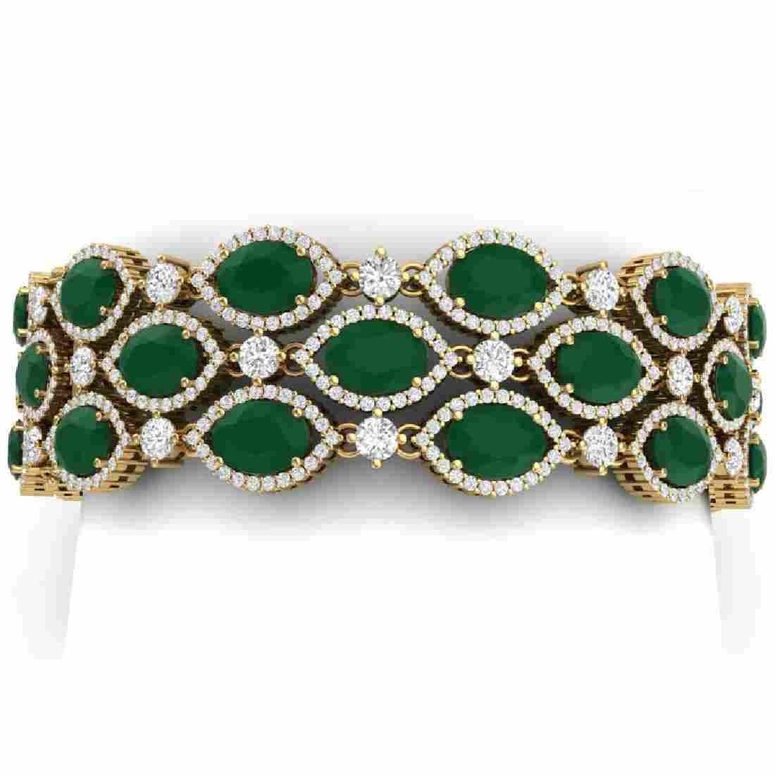52.84 CTW Royalty Emerald & VS Diamond Bracelet 18K