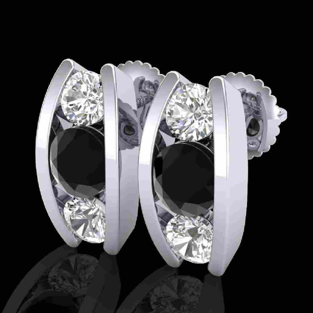 2.18 CTW Fancy Black Diamond Solitaire Art Deco Stud