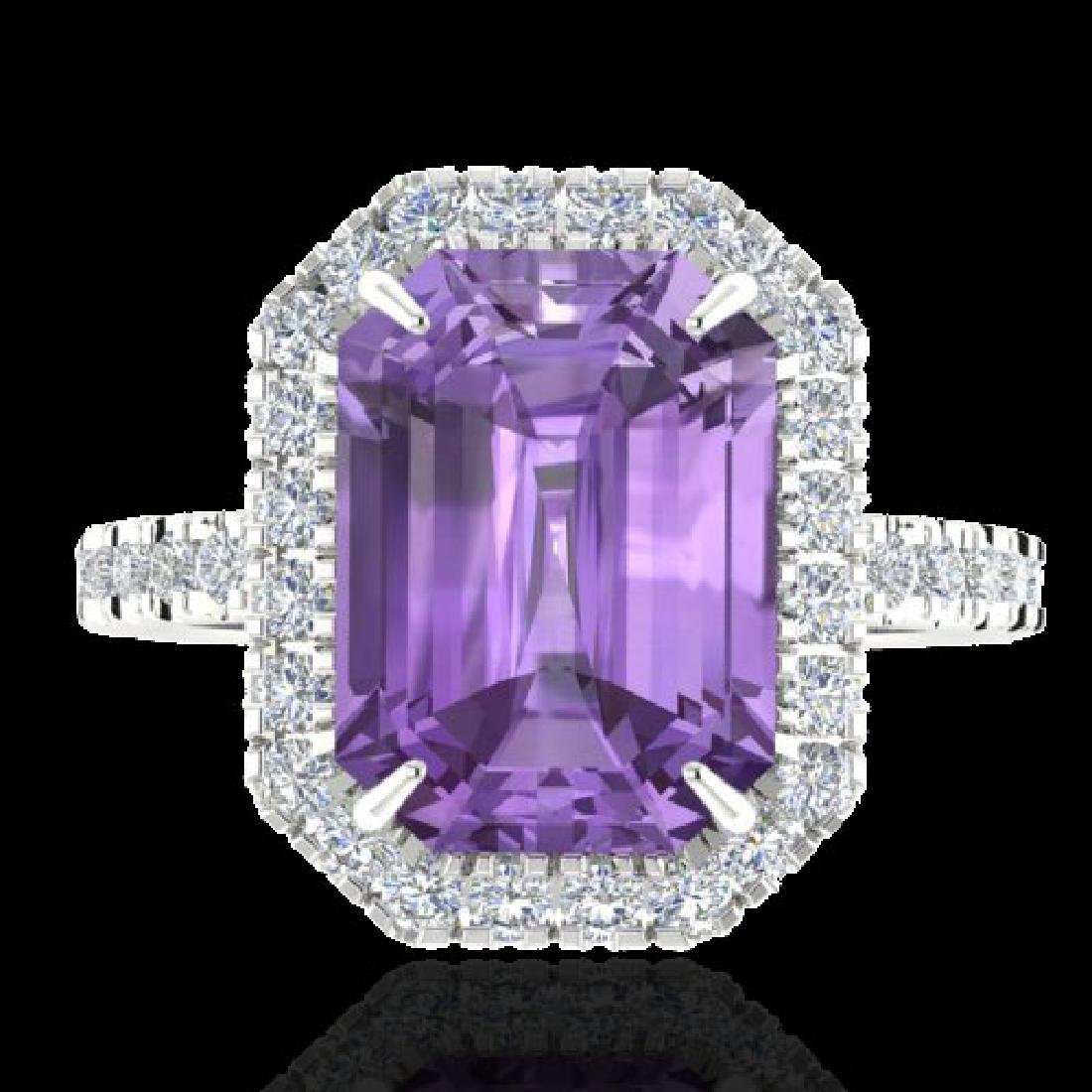 53 CTW Amethyst And Micro Pave VS/SI Diamond Certified