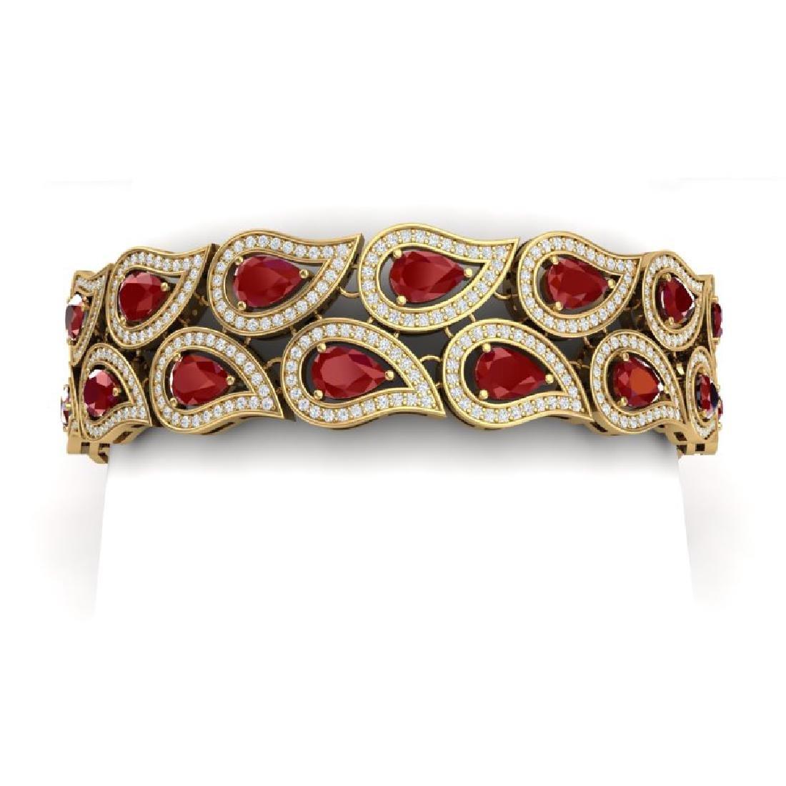 21.6 CTW Royalty Designer Ruby & VS Diamond Bracelet