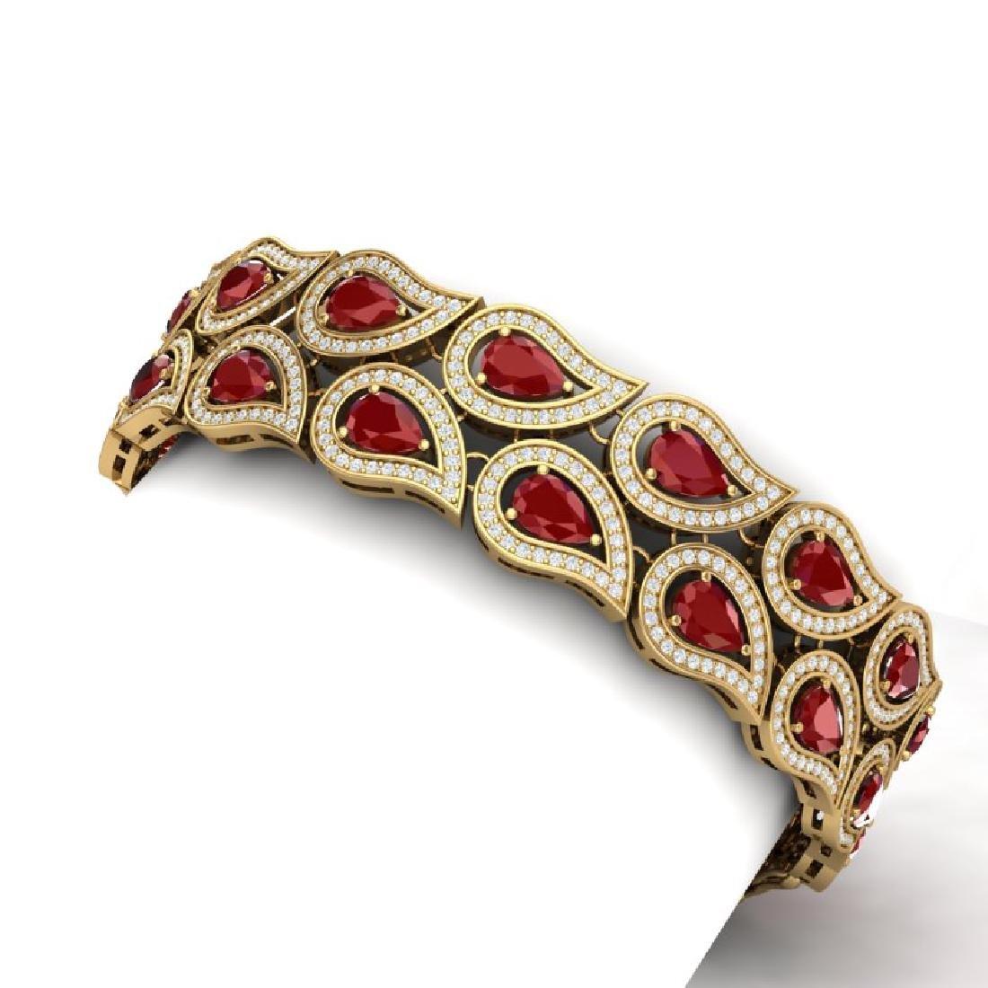 21.6 CTW Royalty Designer Ruby & VS Diamond Bracelet - 2