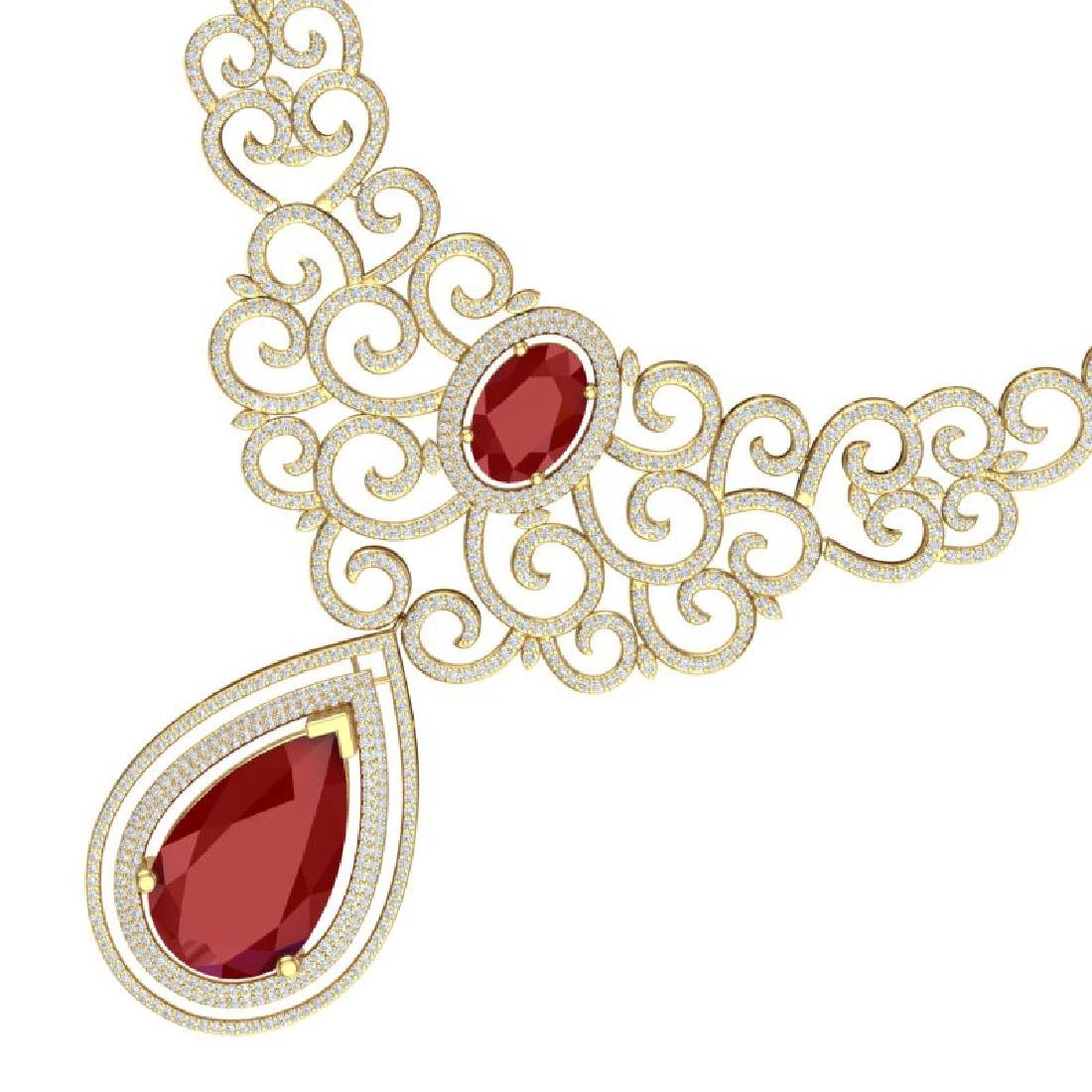 87.52 CTW Royalty Ruby & VS Diamond Necklace 18K Gold