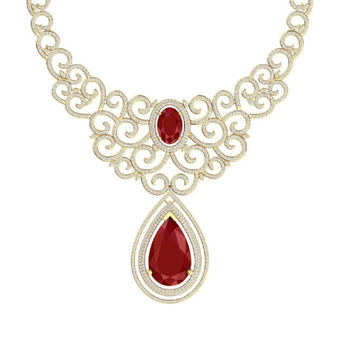 87.52 CTW Royalty Ruby & VS Diamond Necklace 18K Gold - 2