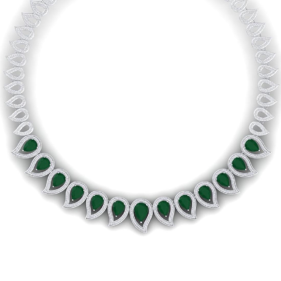 33.4 CTW Royalty Emerald & VS Diamond Necklace 18K Gold