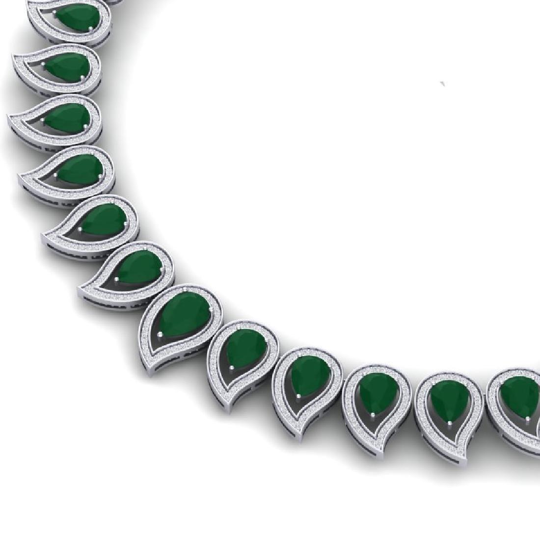 33.4 CTW Royalty Emerald & VS Diamond Necklace 18K Gold - 2
