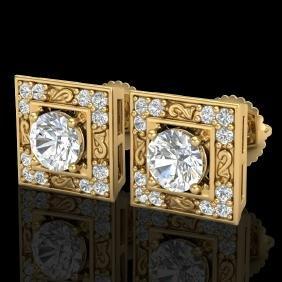 1.63 CTW VS/SI Diamond Solitaire Art Deco Stud Earring