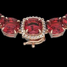 100 CTW Pink Tourmaline & VS/SI Diamond Halo Micro
