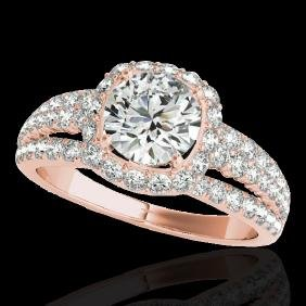 2 CTW H-SI/I Certified Diamond Solitaire Halo Ring Gold