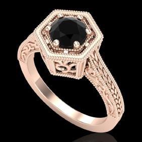 0.77 CTW Fancy Black Diamond Solitaire Engagement Art