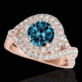2 CTW Si Certified Blue Diamond Solitaire Halo Ring