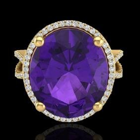 10 CTW Amethyst & Micro Pave VS/SI Diamond Certified