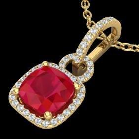 3 CTW Ruby & Micro VS/SI Diamond Certified Necklace 18K
