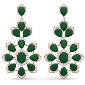 51.8 CTW Royalty Emerald & VS Diamond Earring 18K Gold