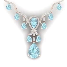 39.14 CTW Royalty Sky Topaz & VS Diamond Necklace 18K