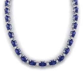 61.85 CTW Tanzanite & VS/SI Certified Diamond Necklace