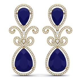 31.6 CTW Royalty Sapphire & VS Diamond Earring 18K Gold