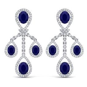 25.08 CTW Royalty Sapphire & VS Diamond Earring 18K