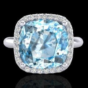 6 Ctw Sky Blue Topaz & Micro Pave Halo Vs/si Diamond