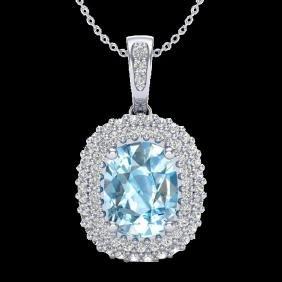 3 Ctw Blue Topaz & Micro Pave Vs/si Diamond Certified