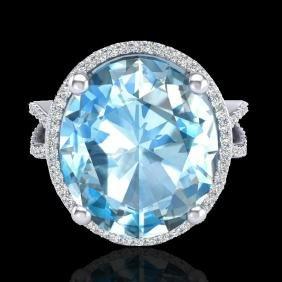 12 Ctw Sky Blue Topaz & Micro Pave Vs/si Diamond Halo